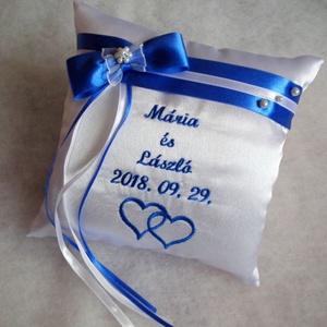 Masnis, gyöngyös hímzett gyűrűpárna dupla szívvel (heidy3) - Meska.hu