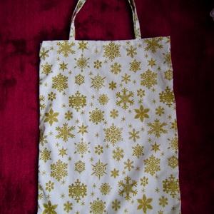 Karácsonyi mintás vászon táska, öko szatyor, Otthon & Lakás, Karácsonyi mintás vászon alapú, romantikus hangulatú, jól pakolható, strapabíró környezetbarát bevás..., Meska