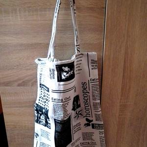 Újság mintás vászon táska, öko szatyor, Otthon & Lakás, Újság mintás vászon alapú, fiatalos hangulatú, jól pakolható, strapabíró környezetbarát bevásárló tá..., Meska