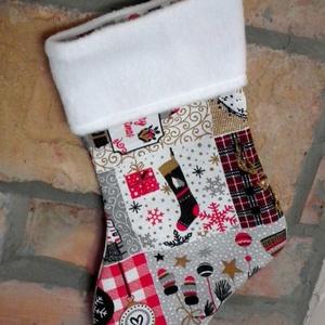 Karácsonyi mintás mikulás csizma, Karácsony & Mikulás, Mikulás, Varrás, Hímzés, Meseszép mikulás csizma karácsonyi mintás vászonból és hófehér, puha polárból.\nHangulatos dekoráció ..., Meska