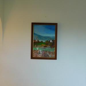 Pilisi tájkép, Otthon & lakás, Képzőművészet, Festmény, Akril, Festészet, Eladó egy 30x40cm nagyságú, saját készítésű bekeretezett akril festmény. Feszített vászonra festett ..., Meska