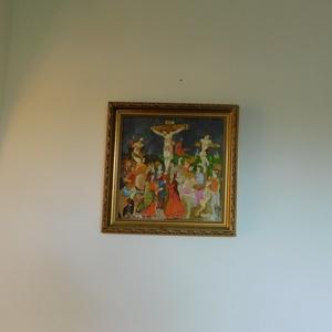 Golgota, Otthon & lakás, Képzőművészet, Festmény, Akril, Festészet, Az eladó képet egy ismeretlen szerző majolika képe ihlette. A kép 35x35cm, bekeretezett.\nSaját alkot..., Meska