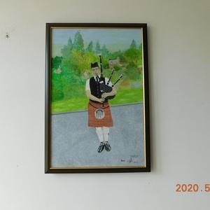Skót dudás, Otthon & lakás, Képzőművészet, Festmény, Olajfestmény, Festészet, Ha kedveled a Skótokat, lakásod dísze lehet ez a festmény. Mérete 40x60cm, feszített vászonra, olajf..., Meska