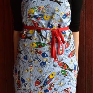 Női zsebes, mintás, konyhai kötény állítható pánttal (HelenDesign) - Meska.hu