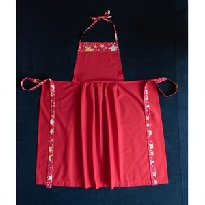 Piros, mintás karácsonyi női konyhai kötény, Otthon & Lakás, Konyhafelszerelés, Kötény, Varrás, Piros női pamutvászon, karácsonyi konyhai kötény, csillag mintázattal; hosszú pánttal, amely elől is..., Meska