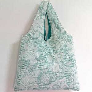 FLOWER kézitáska, szatyor, Táska & Tok, Bevásárlás & Shopper táska, Shopper, textiltáska, szatyor, Maradj trendi a bevásárlásaidon is!  - virág mintás, vidám pamutvászonból készült - a belseje zöldes..., Meska