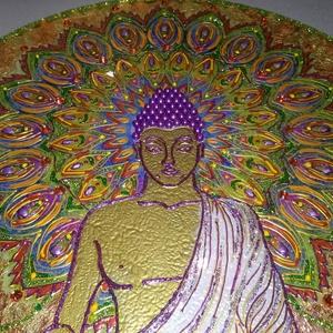 Buddha mandala, Képzőművészet, Otthon & lakás, Napi festmény, kép, Lakberendezés, Falikép, Festészet, Mindenmás, 35 cm átmérőjű üveglapra készült Buddha mandala, melynek születését a nyugalom, béke állapotának elé..., Meska