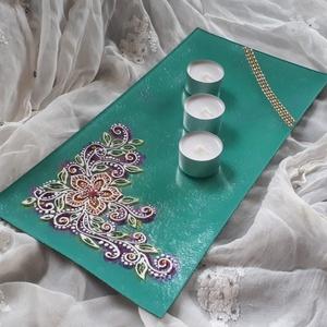35×17 cm téglalap üvegtál, gyertyatál, Otthon & lakás, Dekoráció, Lakberendezés, Asztaldísz, Gyertya, mécses, gyertyatartó, 35×17 cm-es hosszúkás üvegtál gyertyatartónak, vagy ki aminek szeretné :) türkiz színben virágmintáv..., Meska