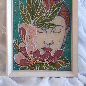 Buddha kép A4-es méret, Otthon & lakás, Dekoráció, Lakberendezés, Falikép, A4-es méretű, újrahasznosított képkeretben egy gyönyörű Buddha kép. Kérhető egyedi színekkel is......, Meska