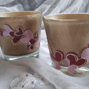 Mécsestartó pohár szív mintákkal bézs színben, Otthon & lakás, Dekoráció, Lakberendezés, Gyertya, mécses, gyertyatartó, Festett tárgyak, Bézs színű, szív mintás mécsestartó vagy egyéb poharak párban vagy egyedül is elvihető...az ár 1 db-..., Meska