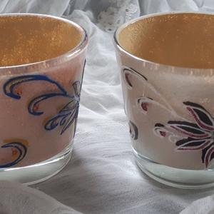 Mécsestartó poharak virág mintával, Otthon & lakás, Dekoráció, Lakberendezés, Gyertya, mécses, gyertyatartó, Mécsestartó poharak külön is vihetők! Termékeim között van még más variációban is pohár, illetve tál..., Meska