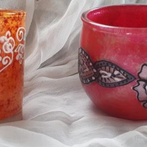 Narancs (magyaros virágminta) és magenta színű mécsestartó poharak külön is..., Otthon & lakás, Dekoráció, Lakberendezés, Gyertya, mécses, gyertyatartó, Mécsestartó üvegpoharak külön is vihetők...termékeim között van még több mécsestartó pohár és gyerty..., Meska