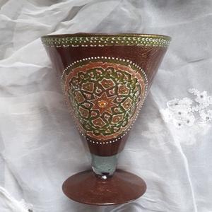 Egyedi, festett üveg kehely 20 cm, Díszüveg, Dekoráció, Otthon & Lakás, Festett tárgyak, Termékeim között megtalálhatók egyéb gyertyatartó tálak, poharak valamint képek is., Meska
