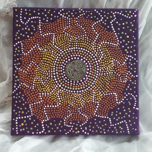 Egyedi vászon kép aboriginal technikával, Otthon & lakás, Dekoráció, Lakberendezés, Falikép, Dísz, Festett tárgyak, Abiriginal technikával készült 20×20 cm-es vászon kép. Termékeim között megtalálhatók egyéb festett ..., Meska