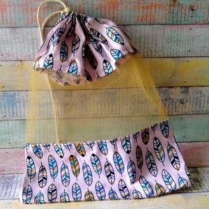 Toll mintás textil zsák/ öko zacskó , Zöldség/Gyümölcs zsák, Bevásárlás & Shopper táska, Táska & Tok, Varrás, A zsák pamutvászon és tüll  kombinációjából készült. A zsák zsinórral záródik.\nMéretei: szélesség: 2..., Meska