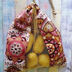 Mandala mintás textil zsák/ öko zacskó , Zöldség/Gyümölcs zsák, Bevásárlás & Shopper táska, Táska & Tok, Varrás, A zsák eleje vászon és tüll  kombinációjából készült, a hátulján a teljes minta látható. A zsák zsin..., Meska