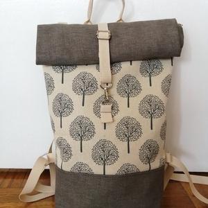 Fa mintás roll up vászon hátitáska, Táska & Tok, Hátizsák, Varrás, Fa mintás vászon roll up hátitáska. A táska fa mintás és egyszínű vászon kombinációjából készült,\nci..., Meska