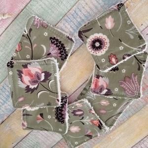 Virág mintás arctisztító törlőkendő- négyzet  (7db+tároló) - szépségápolás - arcápolás - arctisztító korong - Meska.hu