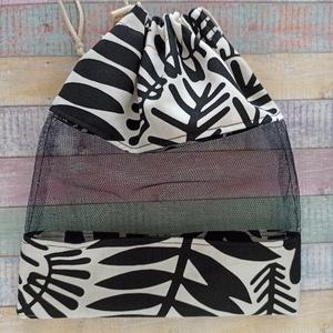 Fekete - fehér mintás textil zsák/ öko zacskó , Táska & Tok, Bevásárlás & Shopper táska, Zöldség/Gyümölcs zsák, Varrás, Meska