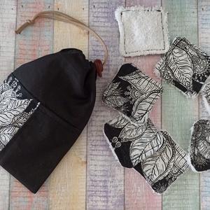 Fekete -fehér mandala virág mintás arctisztító törlőkendő- négyzet  (7db+tároló), Szépségápolás, Arcápolás, Arctisztító korong, Varrás, Meska