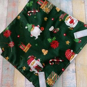 Karácsonyi manós újraszalvéta/textil szalvéta, Karácsony, Karácsonyi lakásdekoráció, Ünnepi asztaldekoráció, Varrás, Meska