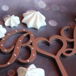 Esküvői tortadísz/csúcsdísz Swarovski kristállyal  Monogrammos menyasszonyi torta Esküvői dekoráció tortára  - esküvő - dekoráció - sütidísz - Meska.hu