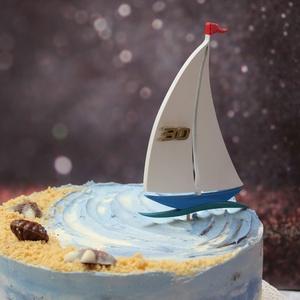 Vitorláshajó születésnapi tortadísz / hűtőmágnes réz évszámmal - otthon & lakás - konyhafelszerelés - sütidísz - Meska.hu