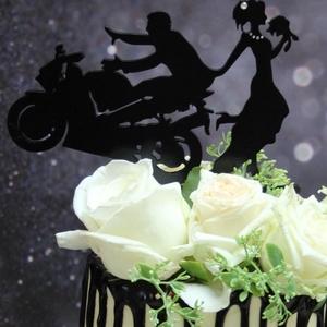 Motoros esküvői tortadísz/csúcsdísz CBR HONDA Motoros menyasszony és vőlegény Esküvői dekoráció tortára  - Meska.hu