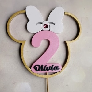 Kislány Minnie füles születésnapi tortadísz névvel / hűtőmágnes Torta dekoráció születésnapra Szülinapi tortadekoráció, Otthon & Lakás, Konyhafelszerelés, Sütidísz, Egy igazán különleges, személyre szóló tortadísz, Minnie mániás kishölgyeknek második szülinapra. Má..., Meska