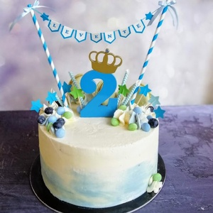 Tortazászló és koronás évszám szett Tortagirland szülinapi tortadíszítő készlet Zászlófűzér és szám tortára Fiús szett - Meska.hu
