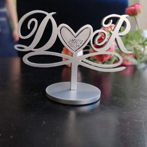 Esküvői tortadísz/csúcsdísz Monogrammos menyasszonyi torta Esküvői dekoráció tortára - esküvő - dekoráció - sütidísz - Meska.hu