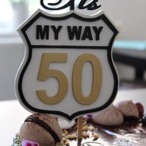 My way Elvis/ Sinatra 50. születésnapi tortadísz / hűtőmágnes 50-es útjelző tábla, Otthon & Lakás, Konyhafelszerelés, Sütidísz, Amerikai útjelzőtábla 50. szülinapi tortadísz/ hűtőmágnes. Sinatra My way cimű dala ihlette.   Fából..., Meska