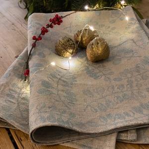 Hepphabit konyharuha/asztalkendő - karácsonyi kiadás, Otthon & Lakás, Konyhafelszerelés, Konyharuha & Törlőkendő, Varrás, Egyedi, saját készítésű pecsétekkel, kézzel nyomdázott 100% lenvászon konyharuha/asztalkendő.\n\n\nmére..., Meska