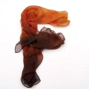 Csokoládés narancs hernyóselyem chiffon sál (Hera) - Meska.hu