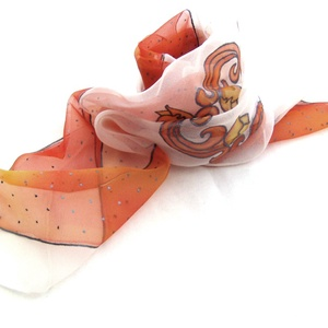 Tulipán hernyóselyem kendő, Táska, Divat & Szépség, Női ruha, Ruha, divat, Selyemfestés, Narancssárga tulipánok táncolnak a kendő közepén, tűpettyes szegély keretezi  ezt a nyakba való kis,..., Meska
