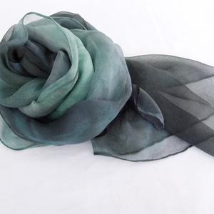 Kék tangó hernyóselyem chiffon stóla (Hera) - Meska.hu