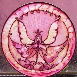 Őrangyal selyem ablakkép rózsaszín (Hera) - Meska.hu