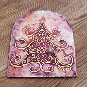 Ünneplőbe öltözött fenyő selyem ablakkép rózsaszín, Otthon & Lakás, Karácsony & Mikulás, Karácsonyi kopogtató, Selyemfestés, Festett tárgyak, Varázskép sorozatom darabjai közül egy ünneplőbe öltözött fenyőfa varázskép...\nSaját zsűriztetett mi..., Meska