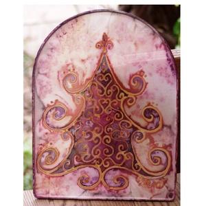 Ünneplőbe öltözött fenyő selyem ablakkép rózsaszín (Hera) - Meska.hu