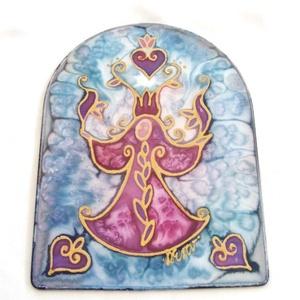 Dúdoló Angyal selyem ablakkép, Otthon & lakás, Dekoráció, Kép, Lakberendezés, Varázskép sorozatom darabjai közül egy a Dúdoló Angyal mágikus varázskép... Saját zsűriztetett mintá..., Meska