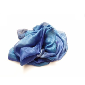 Kék márvány hernyóselyem stóla (Hera) - Meska.hu