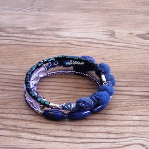 Tinta kék bohém karkötő kék  lila árnyalatban (Hera) - Meska.hu
