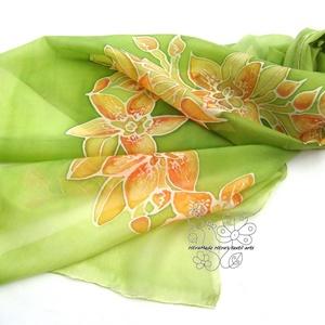 Narancsos Orchideák selyem sál (Hera) - Meska.hu