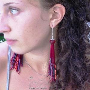 Meggyvörös gyöngyrojtos fülbevaló (Hera) - Meska.hu