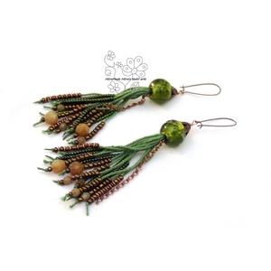 Zöld gyöngyrojtos fülbevaló (Hera) - Meska.hu