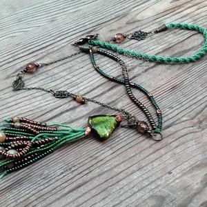 Zöld gyöngyrojtos nyaklánc (Hera) - Meska.hu