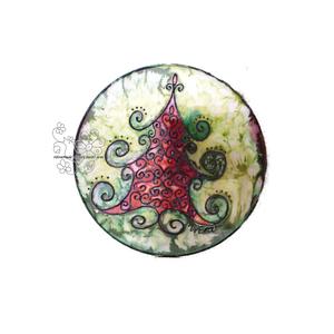 Fenyő ünneplőben selyem ablakkép , Otthon & Lakás, Karácsony & Mikulás, Karácsonyi kopogtató, Selyemfestés, Festett tárgyak, Varázskép sorozatom darabjai közül egy ünneplőbe öltözött fenyőfa varázskép...\nSaját zsűriztetett mi..., Meska