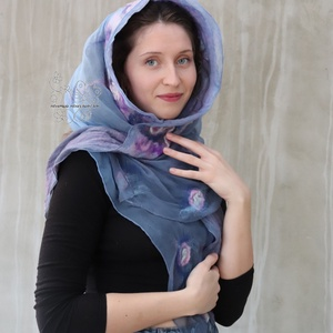Szürkés kék és lila csigás nuno nemez sál (Hera) - Meska.hu