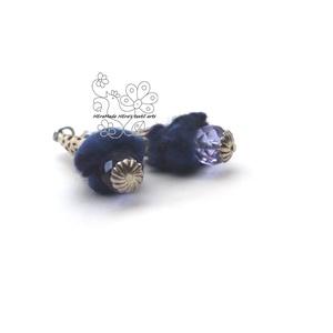 Tinta kék nemez bogyó fülbevaló (Hera) - Meska.hu