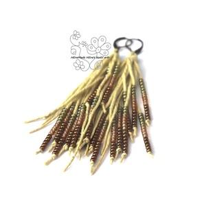 Pisztácia gyöngy rojtos bojt fülbevaló, Ékszer, Fülbevaló, Ékszerkészítés, Gyöngyfűzés, gyöngyhímzés, Textil és gyöngy kollekcióm halványzöld színű darabja.\nBohém rojtos fülbevaló amolyan HErás fazon. H..., Meska